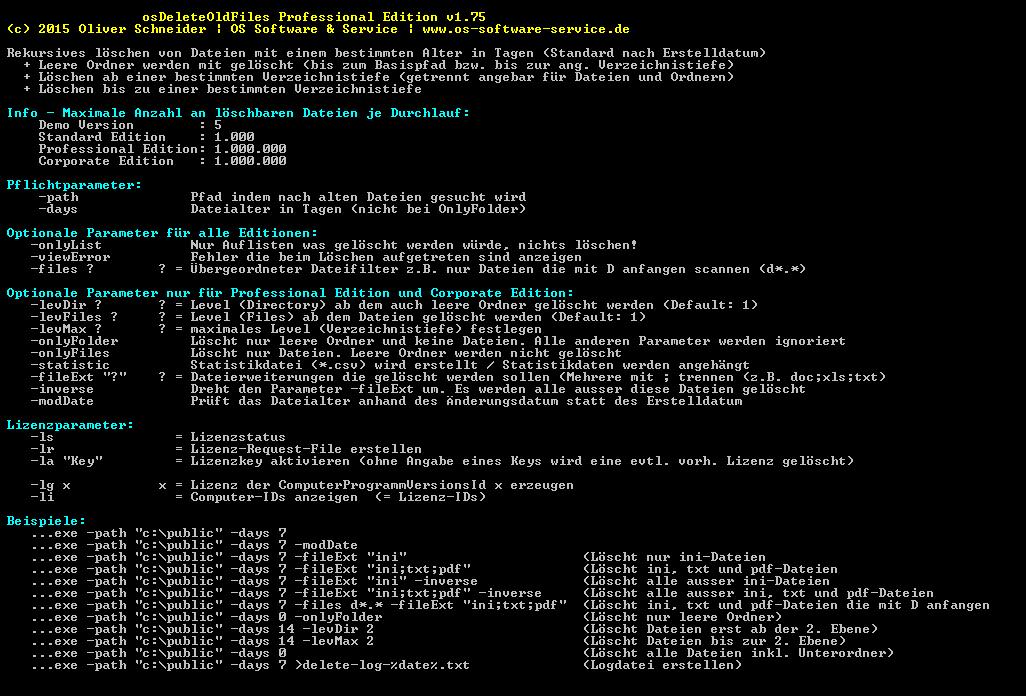 osDeleteOldFiles Intelligentes löschen von Dateien und Ordner - screen01