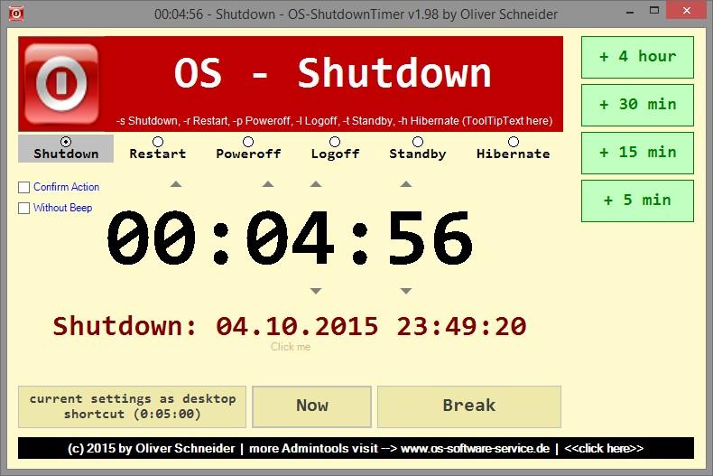 osShutdownTimer - PC timergesteuert ausschalten